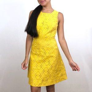 J. Crew Factory Yellow Jacquard Eyelet Dress